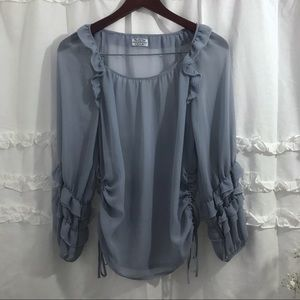 Reformation Style Long sleeve ruffle Top